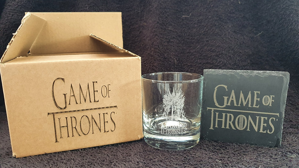 Game of Thrones Tumbler Glass with slate Coaster gift box set