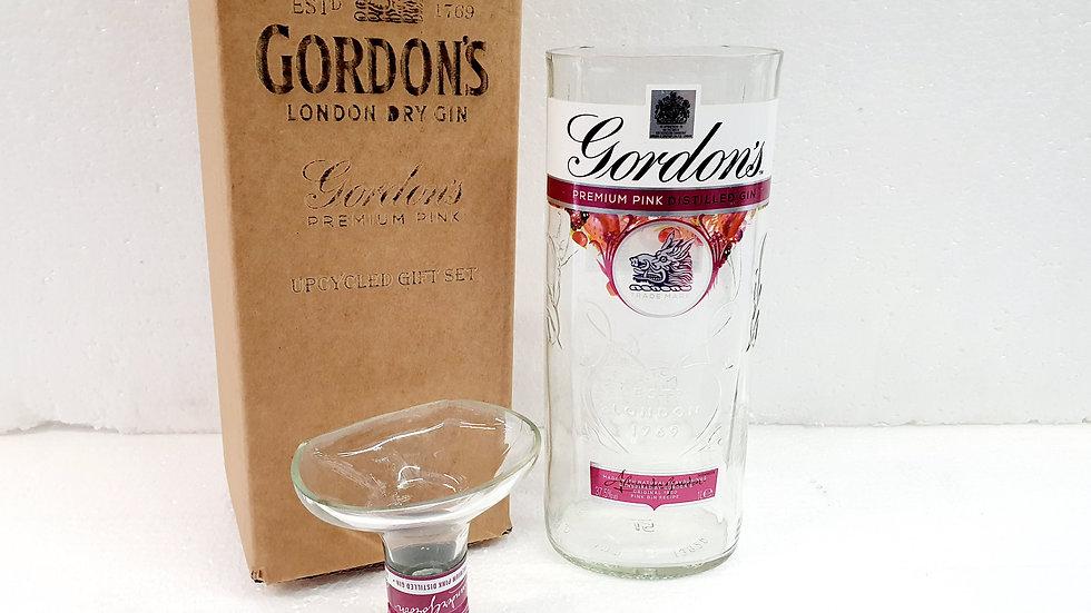 Gordons Pink Gin Bottle Upcycled Glass Gift Set handmade