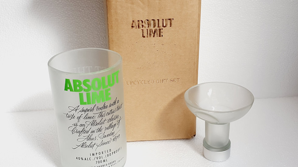 Absolut Vodka Lime Bottle Gift Box Set Upcycled Glass handmade can personalise