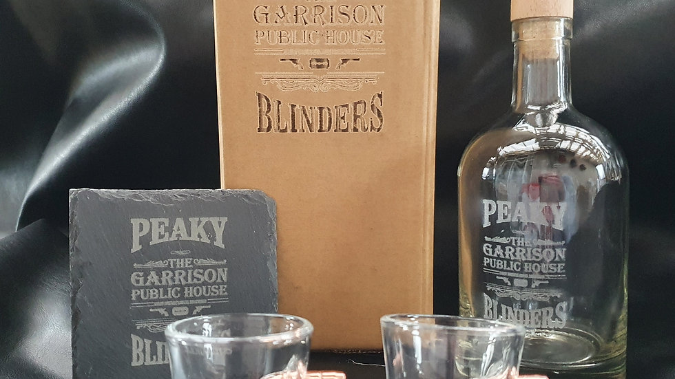 Peaky Blinders decanter gift box set limited edition glasses can be personalised