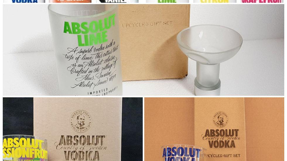 Absolut Vodka Glasses Bottle Gift Box Set Upcycled Glass handmade