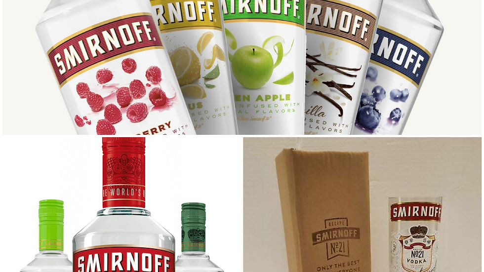Smirnoff Vodka Glasses all flavours Gift Box Set Upcycled Glass handmade can per