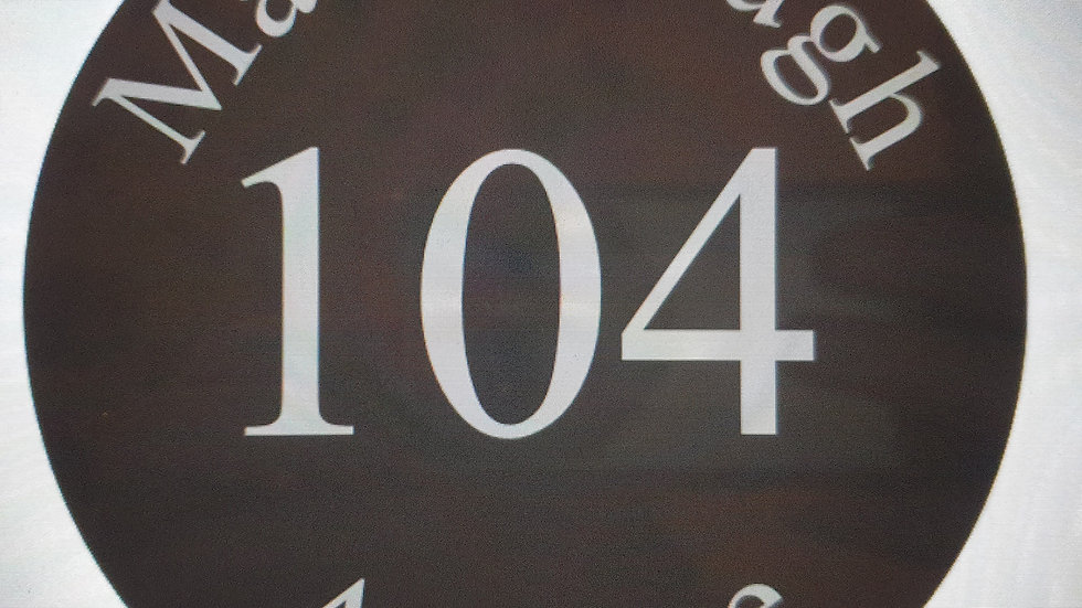Slate House Sign Circle Diameter Deep Engraved Personalised