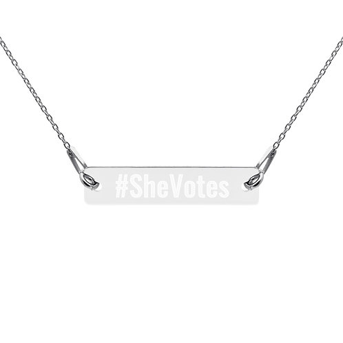 She Votes Engraved Bar Chain Necklace