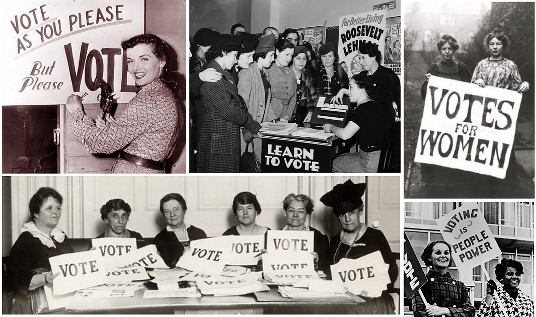 Collage of women voting