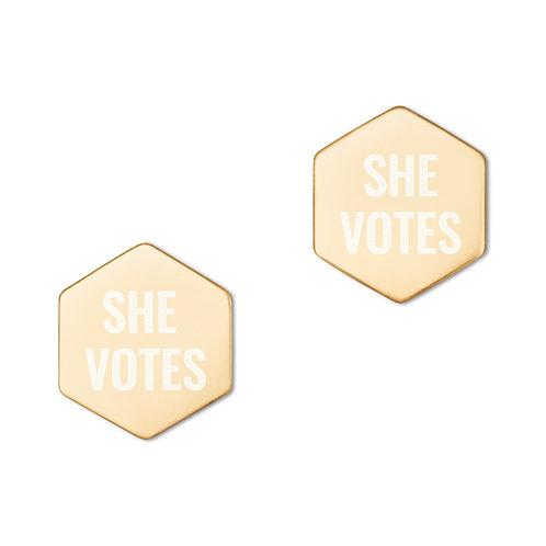 She Votes Sterling Silver Hexagon Stud Earrings