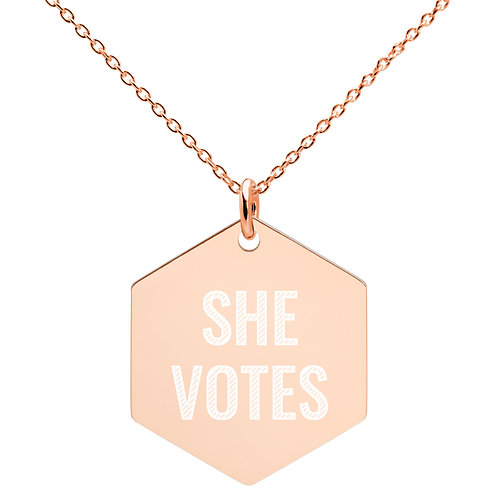 She Votes Engraved Silver Hexagon Necklace