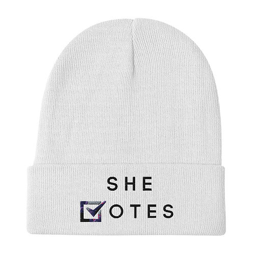 She Votes Embroidered Beanie