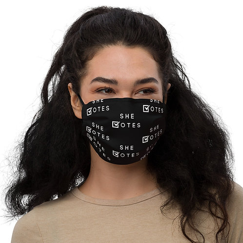 She Votes Black Pattern Face Mask