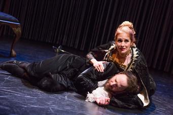 """Joy Hermalyn and Matt Weiss in """"Hamlet. A Version"""" (Photo: Jeremy Daniel)"""