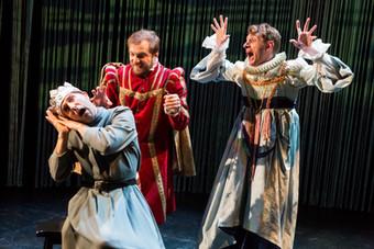 "Khris Lewin, Michael Propster, and Owen Scott in ""Hamlet. A Version"" (Photo: Jeremy Daniel)"