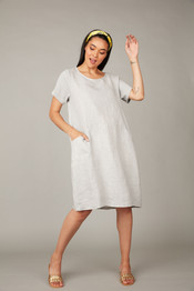 Pistache Linen Dress w/ Cotton Ribbed Sides and Sleeves