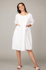 Pistache Patch Pocket Linen Dress w/ Sleeves