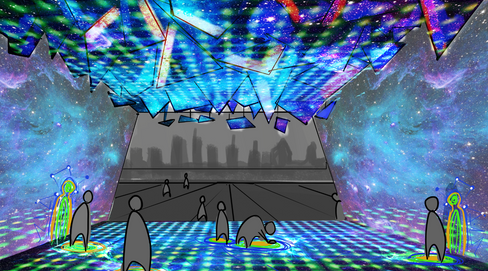 Concept Art - A thermal area where your body defines the projection designs on the walls.