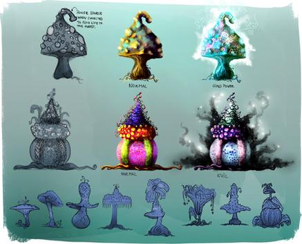 Mushrooms Studies for a game set