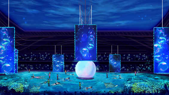 Stadium side view for the sea children moment. A Concept Art for the World Cup 2019 in Qatar, Dubai.
