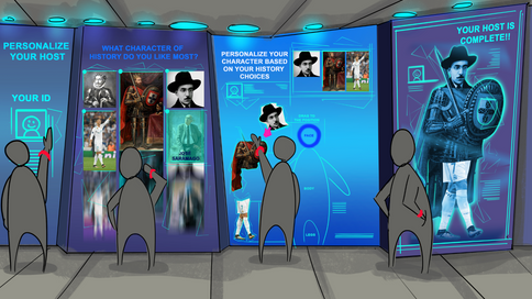 Concept Art to choose your Avatar - Inside the pavilion you would have to choose among the Portuguese characters and assemble your own avatar that would accompany you throughout the journey in the pavilion