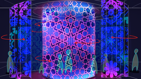 Concet Art - An area where Portuguese tiles are projected on the transparent walls. Making a cool effect :)