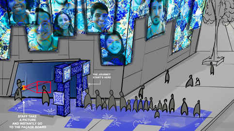 Dubai Expo2020 -  Portugal was supposed to have an exhibition about the country and its culture. This was the way to enter the pavilion, have facial recognition so that your face would come out on the facade of the pavilion.