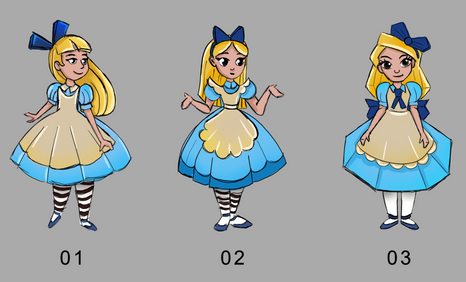 Alice in Wonderland - Alice. Concept art ideas for a light show in Lisbon. The idea was to create this characters and objects in lanterns.