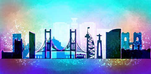 Concept Art Skyline Lisbon for the World Cup 2019 in Qatar, Dubai.