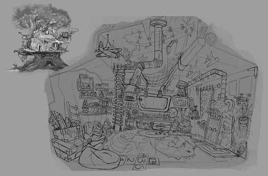 Inside Tree House Scketch