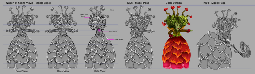 Alice in Wonderland - Red Queen/ Queen of Hearts. Model Sheet. Concept art ideas for a light show in Lisbon. The idea was to create this characters and objects in lanterns.