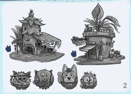 Set of Characters and Building for a Game Art Test