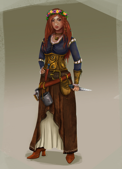 Viking young woman character