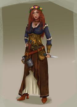 Viking young woman character