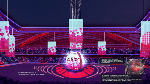 Stadium side view for the countdown moment moment. A Concept Art for the World Cup 2019 in Qatar, Dubai.