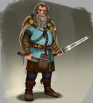 Viking old man character