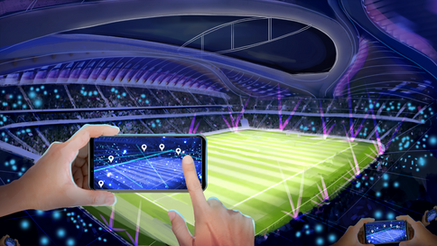 Stadium side view for the connection moment. A Concept Art for the World Cup 2019 in Qatar, Dubai.