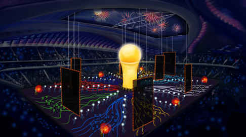 Stadium side view for the final children moment. When the Cup is rise up. A Concept Art for the World Cup 2019 in Qatar, Dubai.