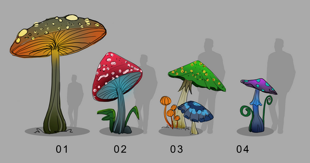 Alice in Wonderland - Mushrooms. Concept art ideas for a light show in Lisbon. The idea was to create this characters and objects in lanterns.