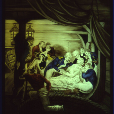 Death of Nelson: unipartite panel on float glass