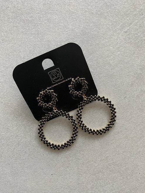 Circle Drop Earrings - Black