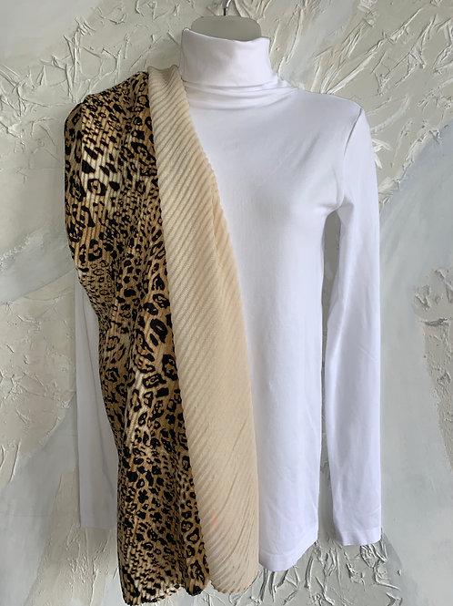 Leopard & Cream Textured Scarf
