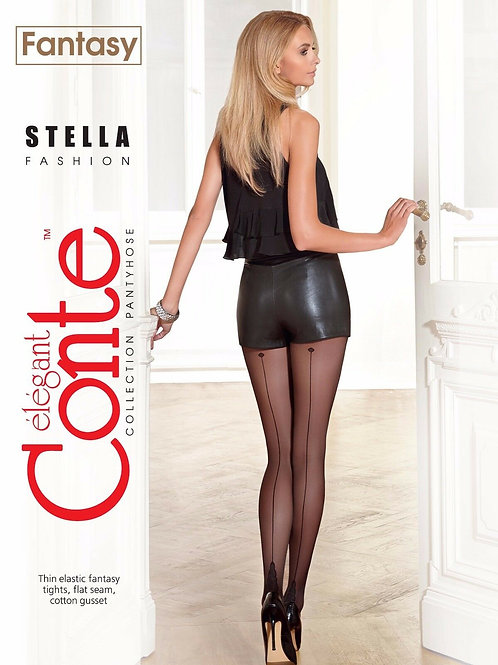 Conte Sheer Back Seam Pantyhose Tights with Cuban Heel