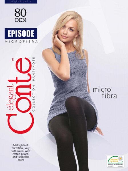 Conte Microfiber Black (Nero) Opaque Footed Tights - 80 Denier