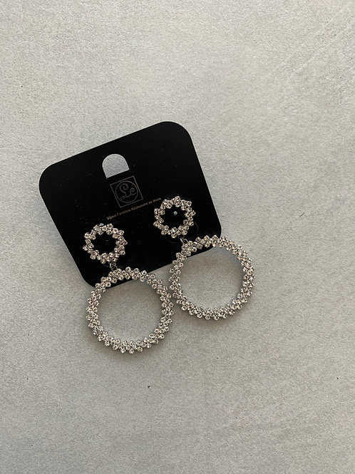 Circle Drop Earrings - Sliver