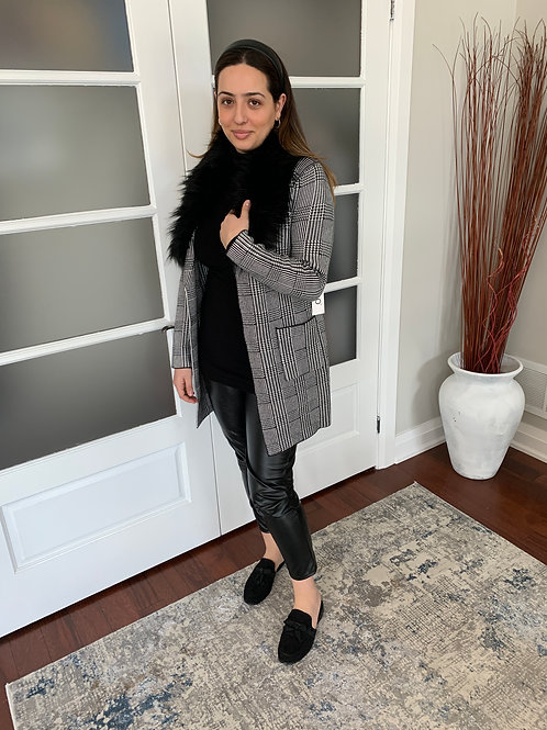 Faux Fur Black and White SweaterJacket