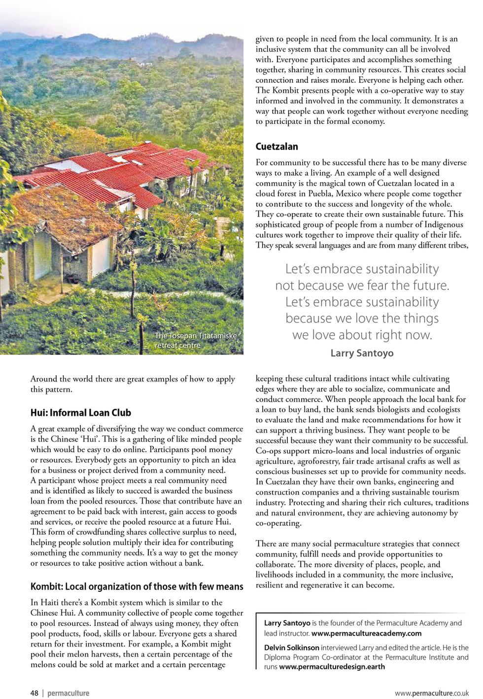 Delvin Solkinson, Permaculture Design, Permaculture Magazine, Larry Santoyo