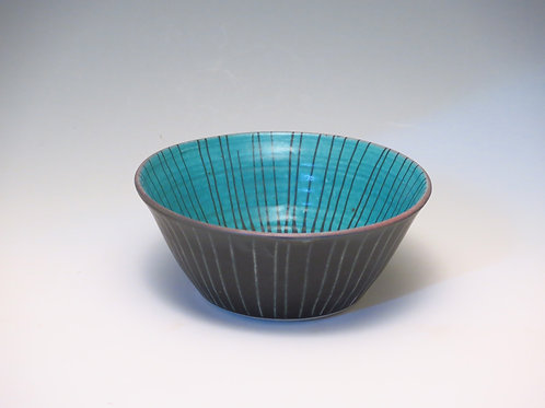 Turquoise Stripe Bowl (up to 2 available)