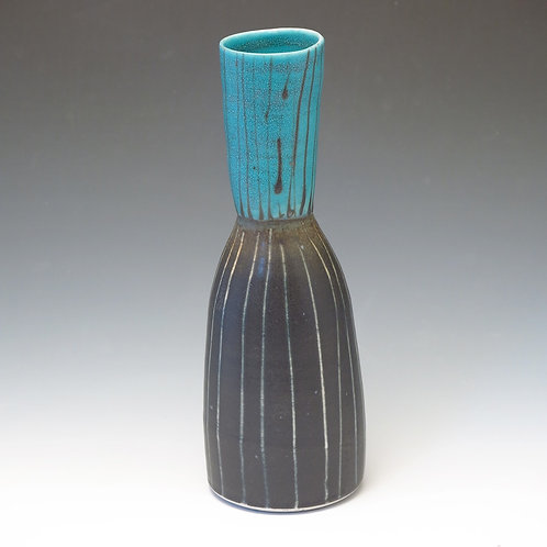 Turquoise Stripe Vase (1 available)