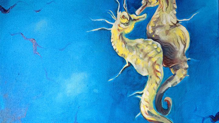 "Original Oil on Canvas ""Seahorses"""