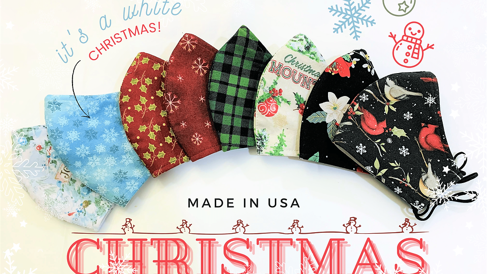 CHRISTMAS HOLIDAY 3LAYER FABRIC FACE MASK, (COLLECTION #5)