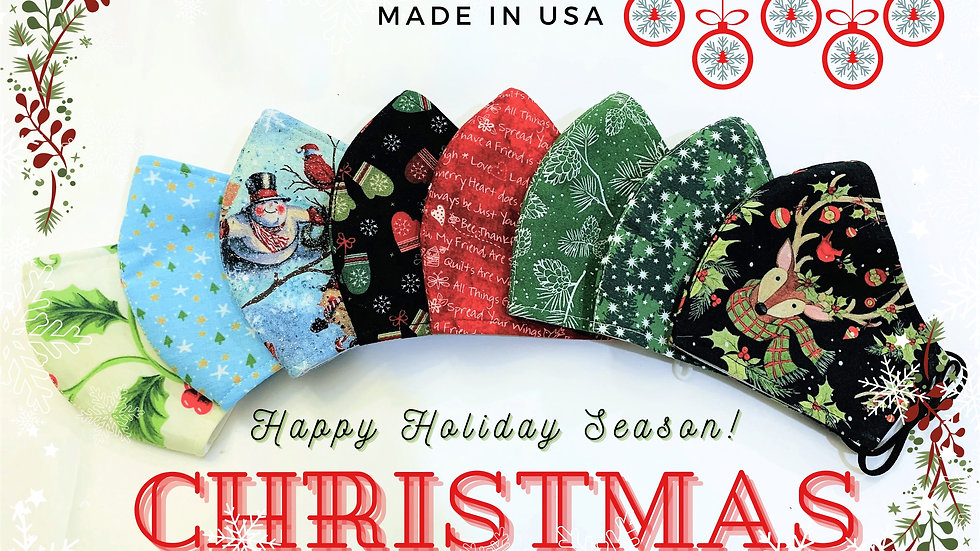 CHRISTMAS HOLIDAY 3LAYER FABRIC FACE MASK, (COLLECTION #1)