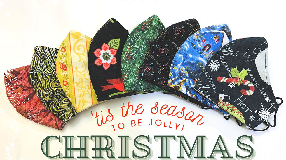 CHRISTMAS HOLIDAY 3LAYER FABRIC FACE MASK, (COLLECTION #2)