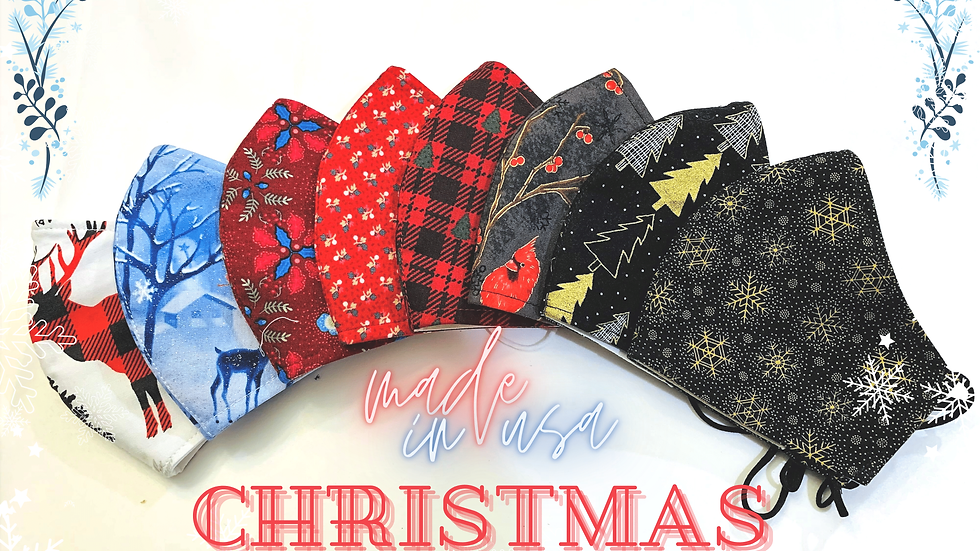 CHRISTMAS HOLIDAY 3LAYER FABRIC FACE MASK, (COLLECTION #8)